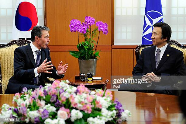 Anders Fogh Rasmussen the NATO Secretary General talks with South Korean foreign minister Yun ByungSe during their meeting at the Ministry of Foreign...
