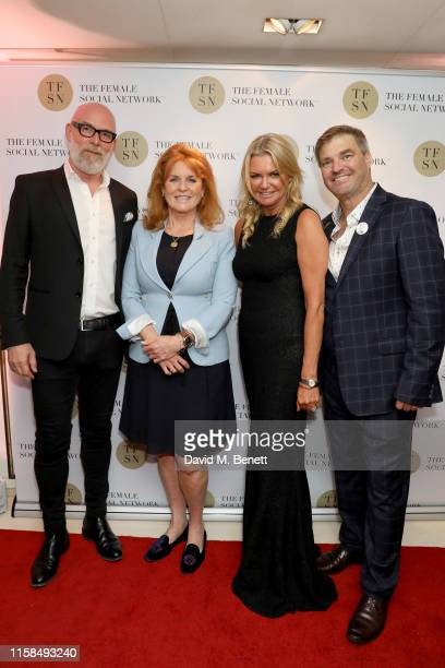 Anders Forsberg Sarah Ferguson Duchess of York Fi Bendal and Duncan Bendall attend the UK launch of The Female Social Network at The Ivy on June 26...