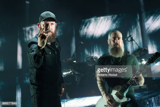 Anders Friden and Bjorn Gelotte of In Flames perform live on stage at The SSE Hydro on December 18 2017 in Glasgow Scotland