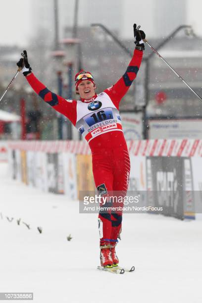 Anders Gloeersen of Norway reacts during the men's team sprint final in the FIS Cross Country World Cup on December 5 2010 in Duesseldorf Germany