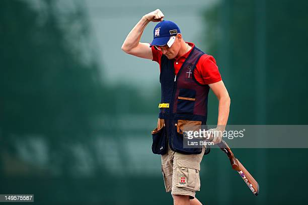 Anders Golding of Denmark competes in the Men's Skeet Shooting final round on Day 4 of the London 2012 Olympic Games at The Royal Artillery Barracks...
