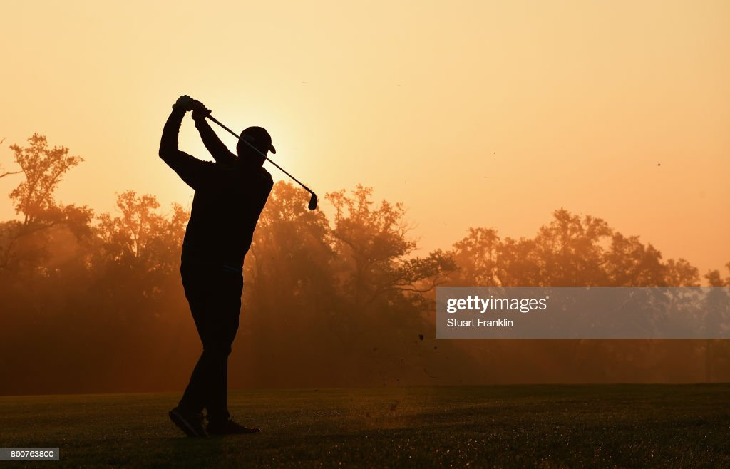 Anders Hansen of Denmark plays a shot during day two of the Italian Open at Golf Club Milano - Parco Reale di Monza on October 13, 2017 in Monza, Italy.