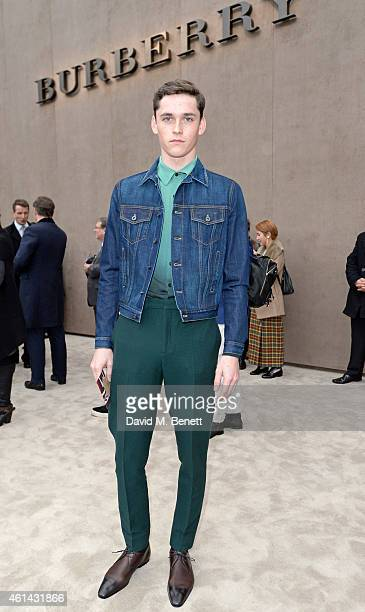Anders Hayward arrives at Burberry Prorsum AW15 London Collections Men at Kensington Gardens on January 12 2015 in London England