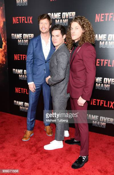 Anders Holm Adam Devine and Blake Anderson attend the premiere of Netflix's Game Over Man at Regency Village Theatre on March 21 2018 in Westwood...