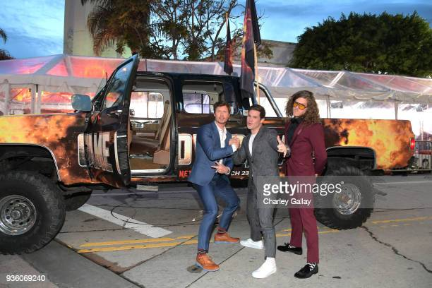 Anders Holm Adam DeVine and Blake Anderson attend the premiere of the Netflix film Game Over Man at the Regency Village Westwood in Los Angeles at...