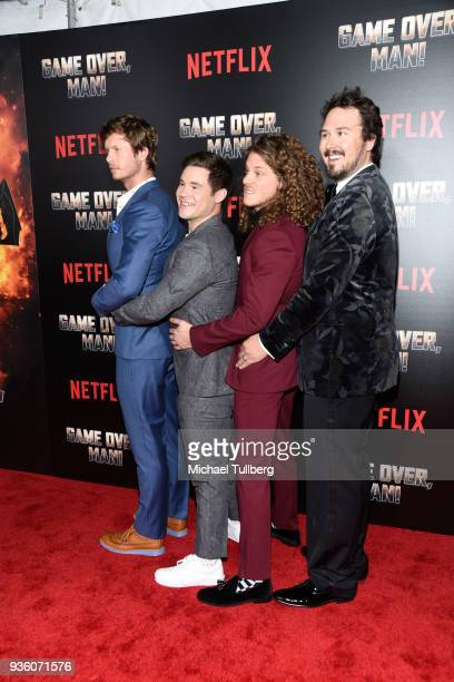 Anders Holm Adam Devine Blake Anderson and Kyle Newacheck attend the premiere of Netflix's Game Over Man at Regency Village Theatre on March 21 2018...