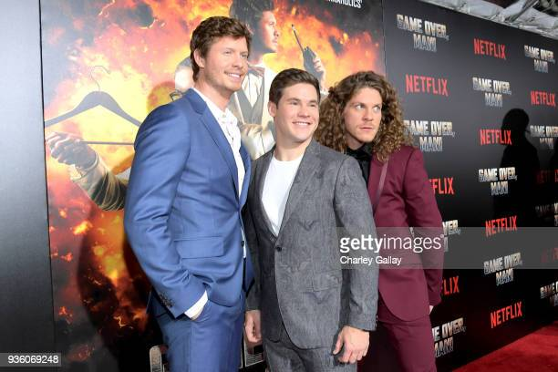 Anders Holm Adam DeVine Blake Anderson attend the premiere of the Netflix film Game Over Man at the Regency Village Westwood in Los Angeles at...