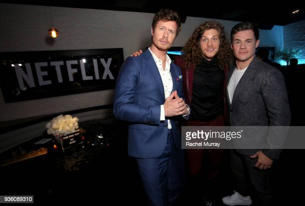 Anders Holm Blake Anderson and Adam DeVine attend the premiere of the Netflix film Game Over Man at the Regency Village Westwood in Los Angeles at...