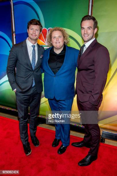 Anders Holm Fortune Feimster and Andy Favreau attends NBC's New York mid season press junket at Four Seasons Hotel New York on March 8 2018 in New...