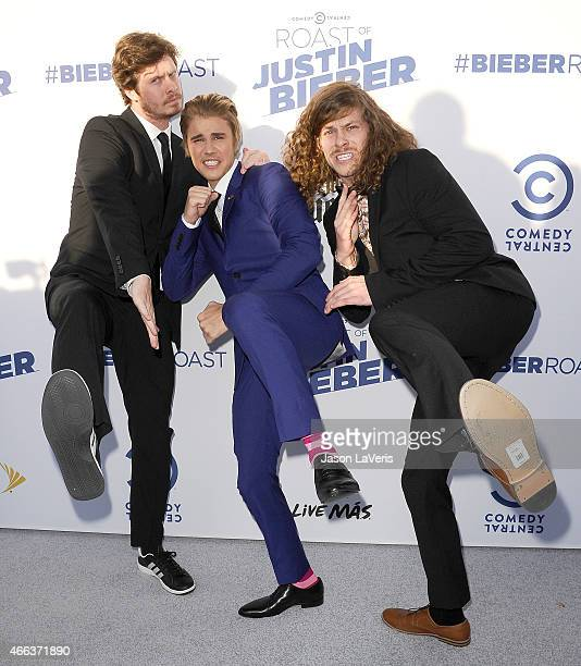 Anders Holm, Justin Bieber and Blake Anderson attend the Comedy Central Roast Of Justin Bieber on March 14, 2015 in Los Angeles, California.