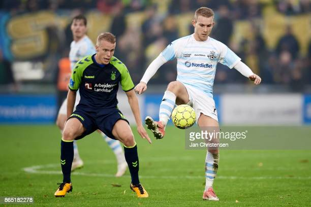 Anders Holst of FC Helsingor compete for the ball during the Danish Alka Superliga match between FC Helsingor and Brondby IF at Helsingor Stadion on...