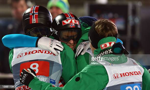 Anders Jacobsen of Norway celebrates after the final round second leg for the FIS Ski Jumping World Cup event of the 61st Four Hills ski jumping...