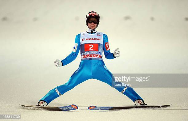 Anders Jacobsen of Norway celebrates after winning the final round second leg for the FIS Ski Jumping World Cup event at the 61st Four Hills ski...