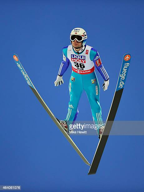 Anders Jacobsen of Norway competes during the Men's HS100 Normal Hill Ski Jumping during the FIS Nordic World Ski Championships at the Lugnet venue...