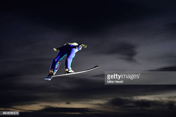 Anders Jacobsen of Norway competes in the Men's Team HS134 Large Hill Ski Jumping during the FIS Nordic World Ski Championships at the Lugnet venue...