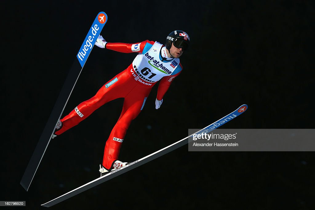 Anders Jacobsen of Norway in action during the Men's Ski Jumping HS134 Individual Qualification at the FIS Nordic World Ski Championshipson February 27, 2013 in Val di Fiemme, Italy.