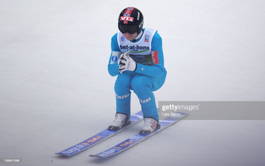 Anders Jacobsen of Norway looks dejected after the final round for the FIS Ski Jumping World Cup event of the 61st Four Hills ski jumping tournament at Bergisel-Stadion on January 4, 2013 in Innsbruck, Austria.
