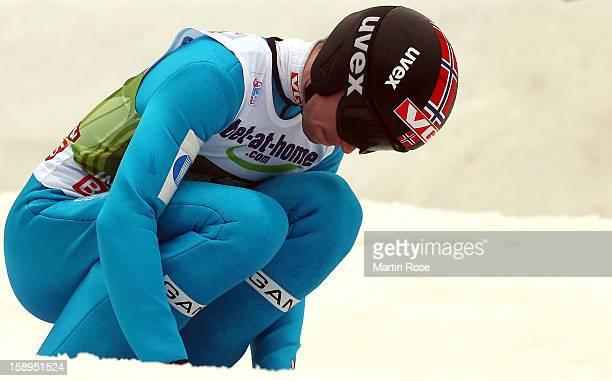 Anders Jacobsen of Norway reacts during the final round for the FIS Ski Jumping World Cup event of the 61st Four Hills ski jumping tournament at...