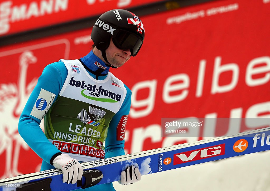 Anders Jacobsen of Norway reacts during the final round for the FIS Ski Jumping World Cup event of the 61st Four Hills ski jumping tournament at Bergisel-Stadion on January 4, 2013 in Innsbruck, Austria.