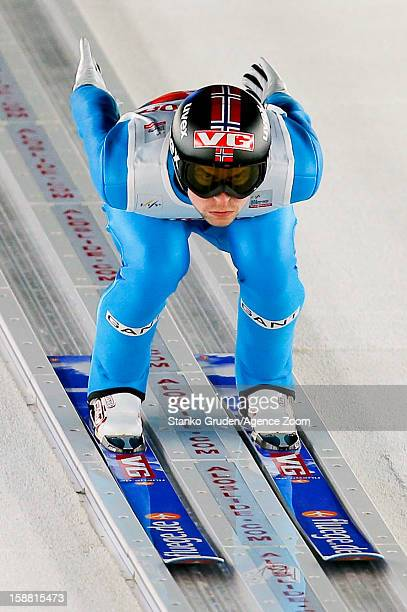 Anders Jacobsen of Norway takes 1st place during the FIS Ski Jumping World Cup Vierschanzentournee on December 30 2012 in Oberstdorf Germany