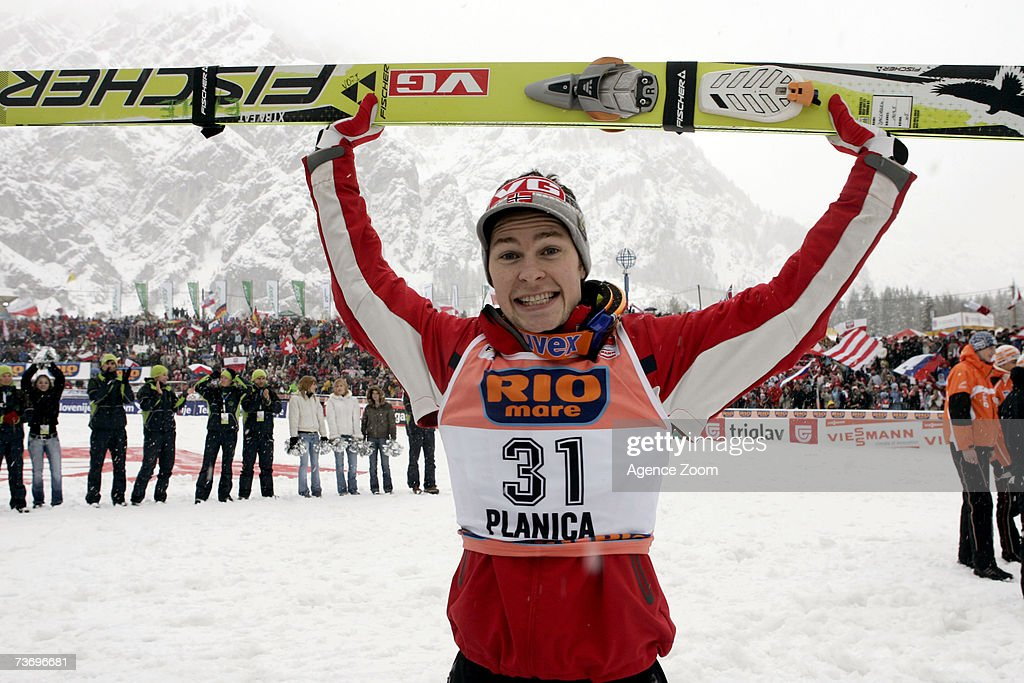 Anders Jacobsen of Norway takes 2nd place during the FIS Ski Jumping World Cup HS 215 event on March 25, 2007 in Planica, Slovenia.