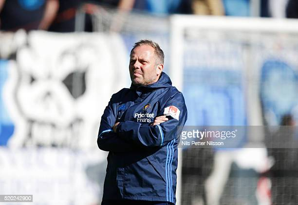 Anders Johansson assistant coach of Djurgardens IF during the allsvenskan match between Gefle IF and Djurgardens IF at Gavlevallen on April 10 2016...