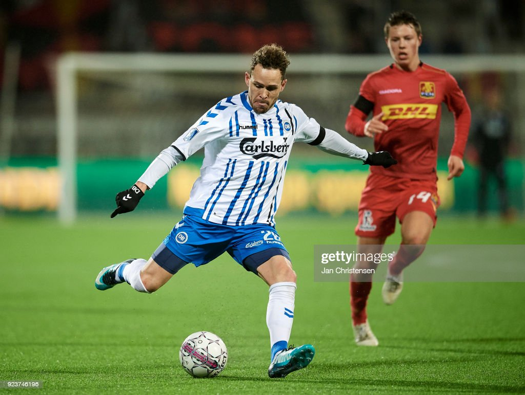 Anders K. Jacobsen of OB Odense in action during the Danish Alka Superliga match between FC Nordsjalland and OB Odense at Right to Dream Park on February 16, 2018 in Farum, Denmark.