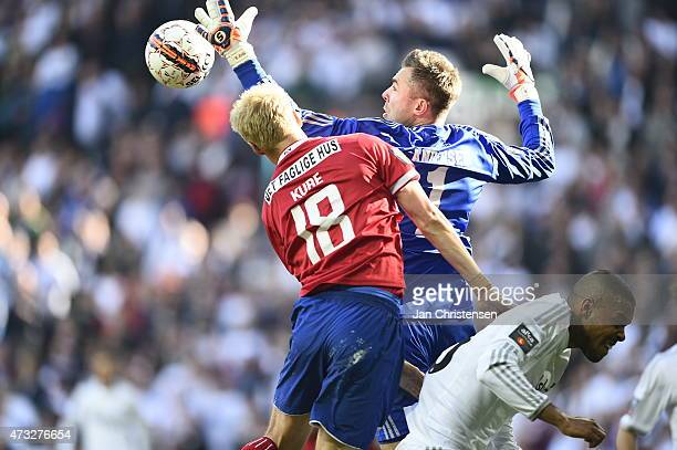 Anders Kure of FC Vestsjalland and Goalkeeper Stephan Andersen of FC Copenhagen compete for the ball during the DBU Pokalen Cup Final match between...