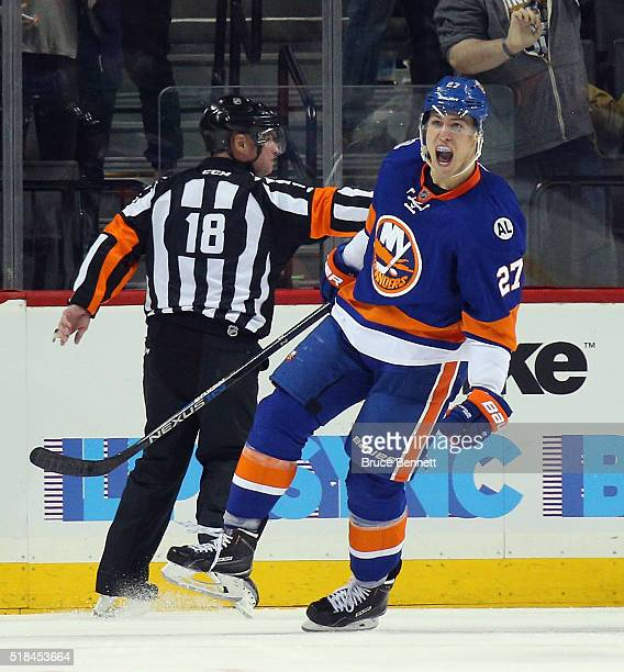 Anders Lee of the New York Islanders celebrates his go ahead goal on the powerplay against the Columbus Blue Jackets at 523 of the third period at...