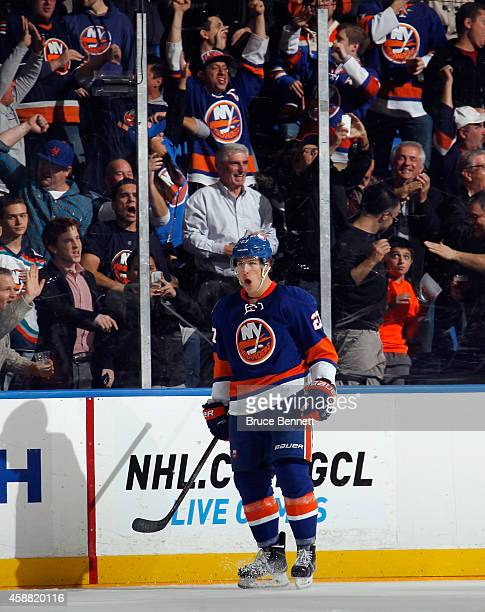 Anders Lee of the New York Islanders celebrates his powerplay goal at 5:21 of the first period against the Colorado Avalanche at the Nassau Veterans...