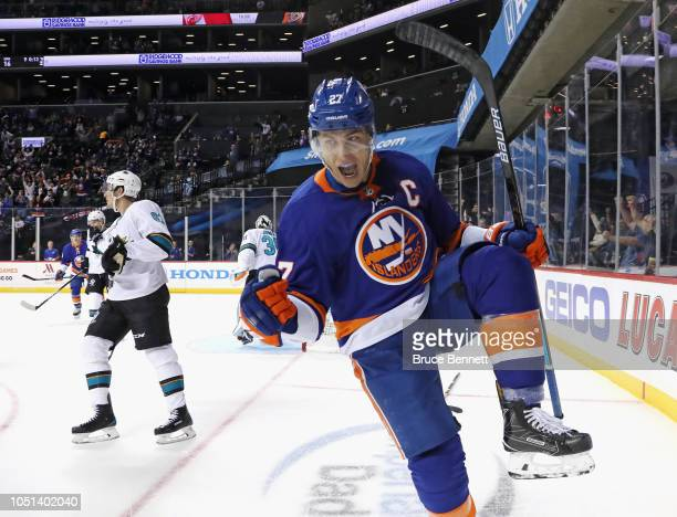 Anders Lee of the New York Islanders scores a powerplay goal at 1434 of the second period against the San Jose Sharks at the Barclays Center on...