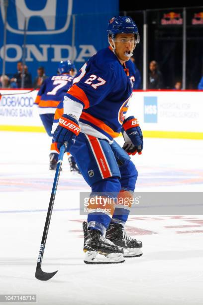 Anders Lee of the New York Islanders skates against the Nashville Predators at Barclays Center on October 6 2018 the Brooklyn borough of New York...