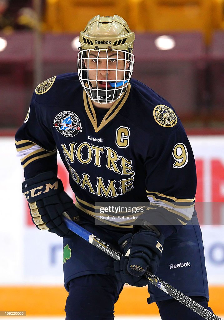 Anders Lee #9 of the Notre Dame Fighting Irish warms up before a game against the Minnesota Gophers January 8, 2013 at Mariucci Arena in Minneapolis, Minnesota.
