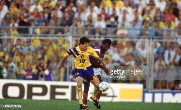 Anders Limpar of Sweden and Jocelyn Angloma of France during the European Championship match between Sweden and France at Rasunda Stadium Solna...