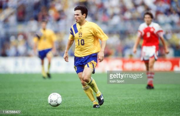 Anders Limpar of Sweden during the European Championship match between Sweden and Denmark at Rasundastadion Stockholm Sweden on 14 June 1992