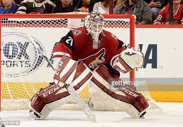 Anders Lindback of the Arizona Coyotes gets ready to make a save against the Chicago Blackhawks at Gila River Arena on December 29 2015 in Glendale...