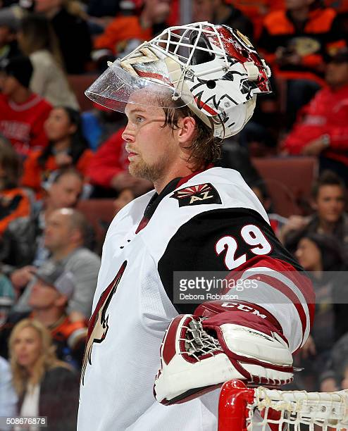 Anders Lindback of the Arizona Coyotes looks on during the game against the Anaheim Ducks on February 5 2016 at Honda Center in Anaheim California
