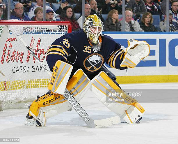 Anders Lindback of the Buffalo Sabres tends goal against the New York Rangers on March 14 2015 at the First Niagara Center in Buffalo New York