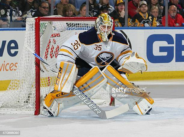 Anders Lindback of the Buffalo Sabres tends goal against the Pittsburgh Penguins on April 11 2015 at the First Niagara Center in Buffalo New York