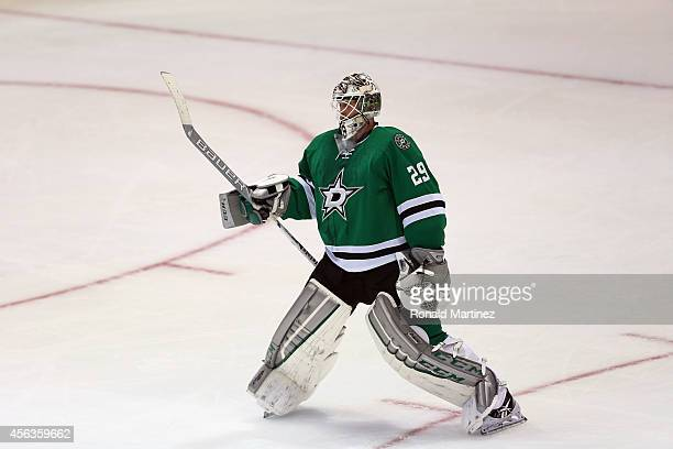 Anders Lindback of the Dallas Stars during a preseason game at American Airlines Center on September 29 2014 in Dallas Texas