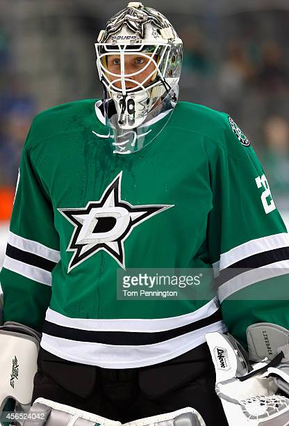 Anders Lindback of the Dallas Stars prepares to take the ice against the Tampa Bay Lightning in a preseason game at American Airlines Center on...