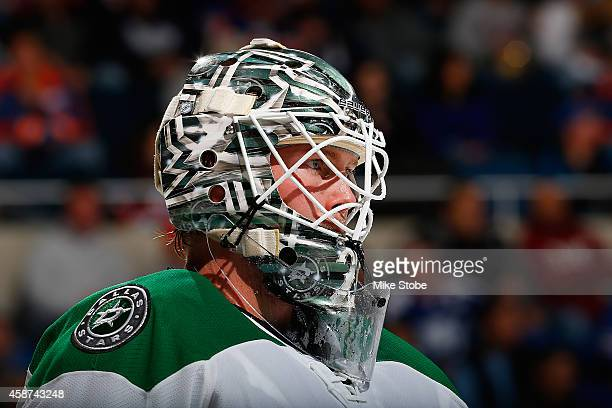Anders Lindback of the Dallas Stars skates against the New York Islanders at Nassau Veterans Memorial Coliseum on October 25 2014 in Uniondale New...