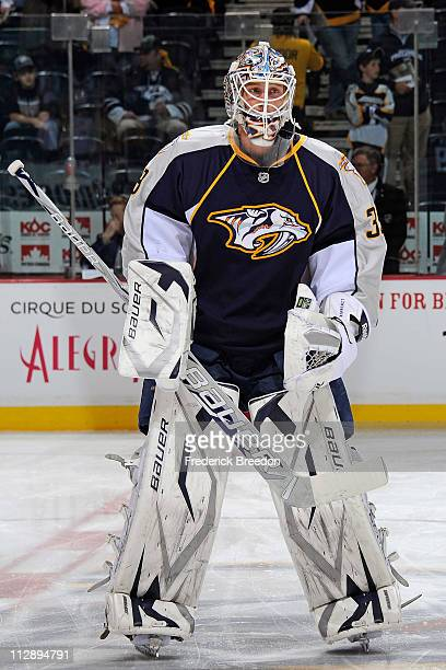 Anders LIndback of the Nashville Predators skates against the Anaheim Ducks in Game Four of the Western Conference Quarterfinals during the 2011 NHL...