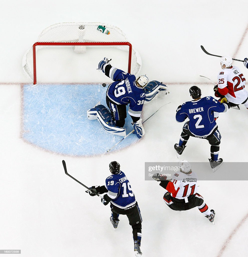 Anders Lindback #39 of the Tampa Bay Lightning stops the puck before it crosses the goal line during the second period against the Ottawa Senators at the Tampa Bay Times Forum on January 25, 2013 in Tampa, Florida.