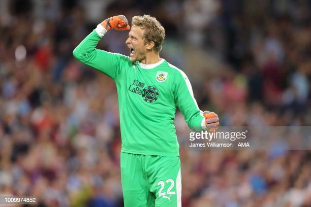 Anders Lindegaard of Burnley celebrates after Ashley Barnes of Burnley scores a goal to make it 31 during the UEFA Europa League Second Qualifying...