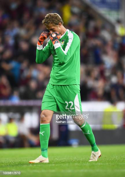 Anders Lindegaard of Burnley celebrates after they score during the UEFA Europa League Second Qualifying Round match between Burnley and Aberdeen at...
