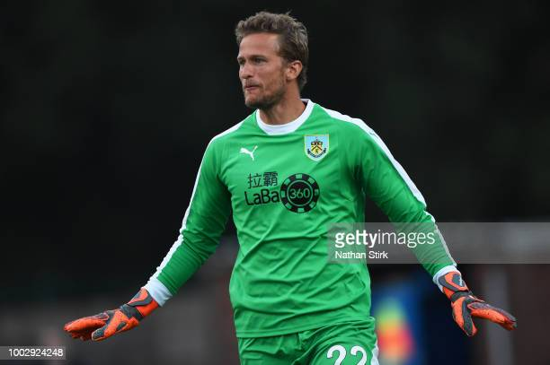 Anders Lindegaard of Burnley gives his team mates instructions during a preseason friendly match between Curzon Ashton and Burnley at Tameside...