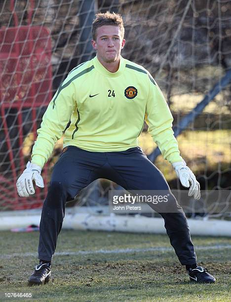 Anders Lindegaard of Manchester United in action during a first team training session at Carrington Training Ground on December 17 2010 in Manchester...