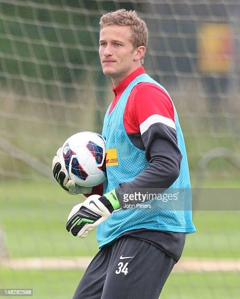 Anders Lindegaard of Manchester United in action during first team training session at Carrington Training Ground on July 13 2012 in Manchester...