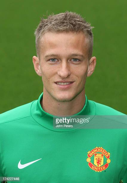 Anders Lindegaard of Manchester United poses at the annual club photocall at Old Trafford on September 9 2011 in Manchester England